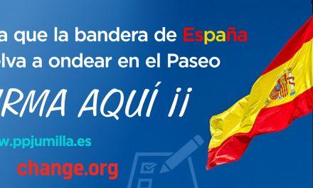 """El PP de Jumilla lanza una campaña en """"change.org"""" para seguir recogiendo firmas y reclamar que se vuelva a instalar la bandera de España"""