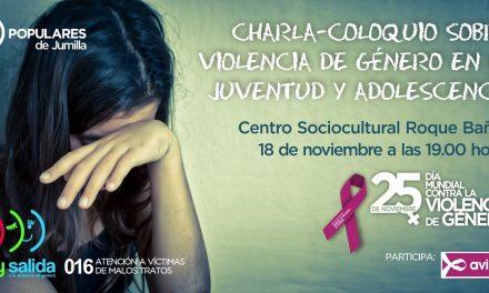 Este próximo viernes el Centro Sociocultural Roque Baños acoge una charla coloquio sobre la Violencia de Género en la Juventud y la Adolescencia