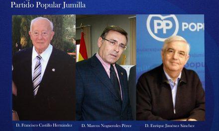 """Paco Castillo, Marcos Nogueroles y Enrique Jiménez recibirán la """"Insignia de Honor"""" del Partido Popular de Jumilla"""